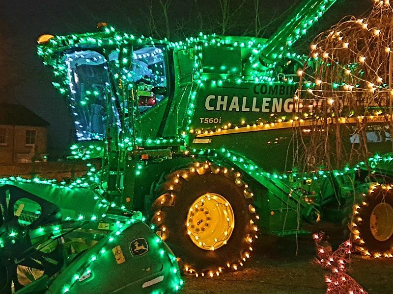 Festive John Deere Combine Harvester at Ben Burgess Norwich