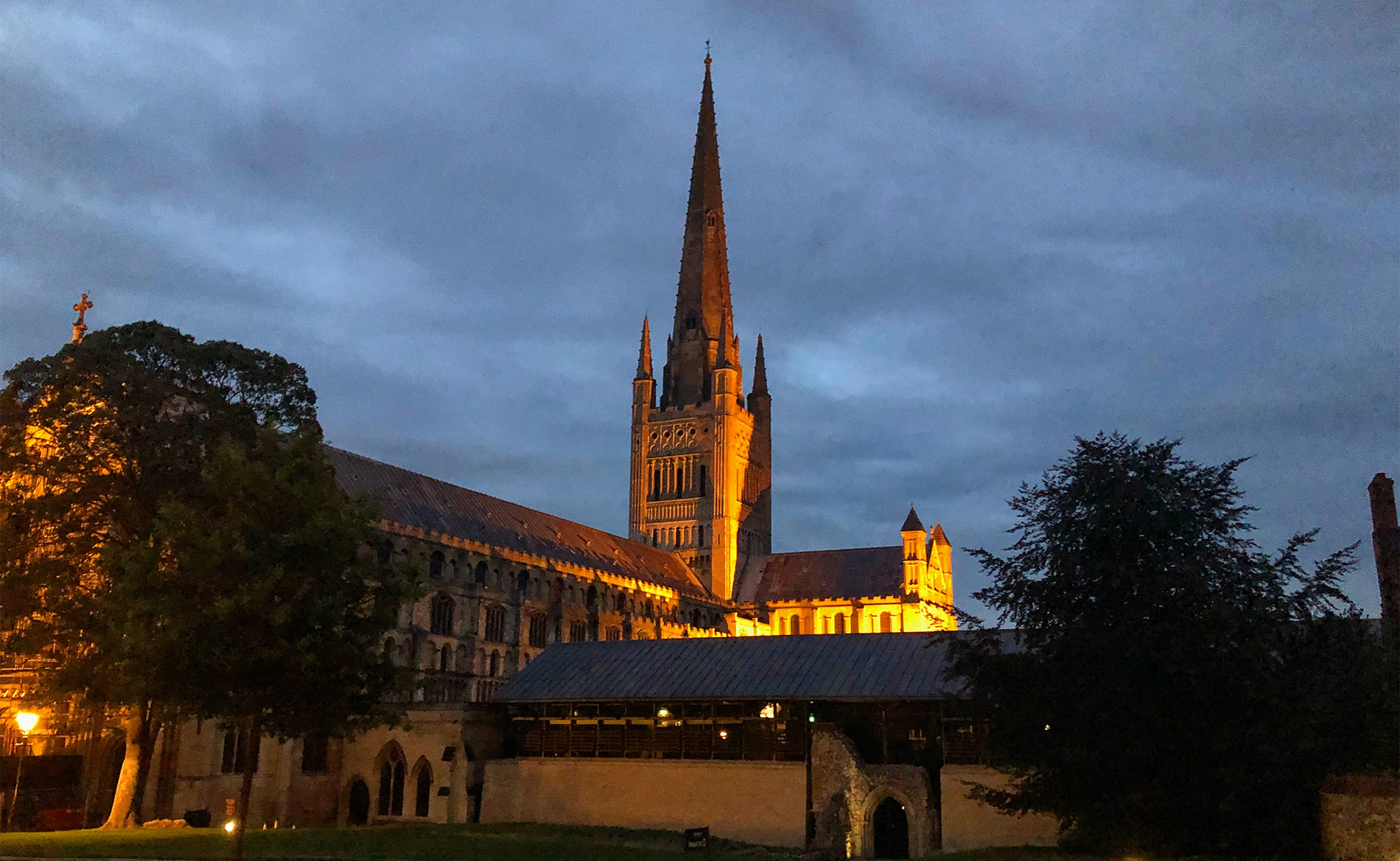 Norwich Cathedral at night.