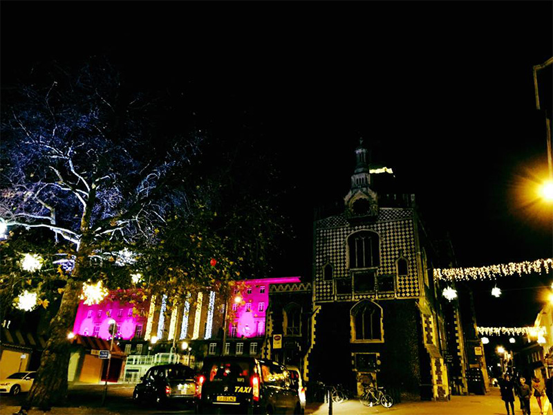 Norwich Guildhall, at Christmas, at night.