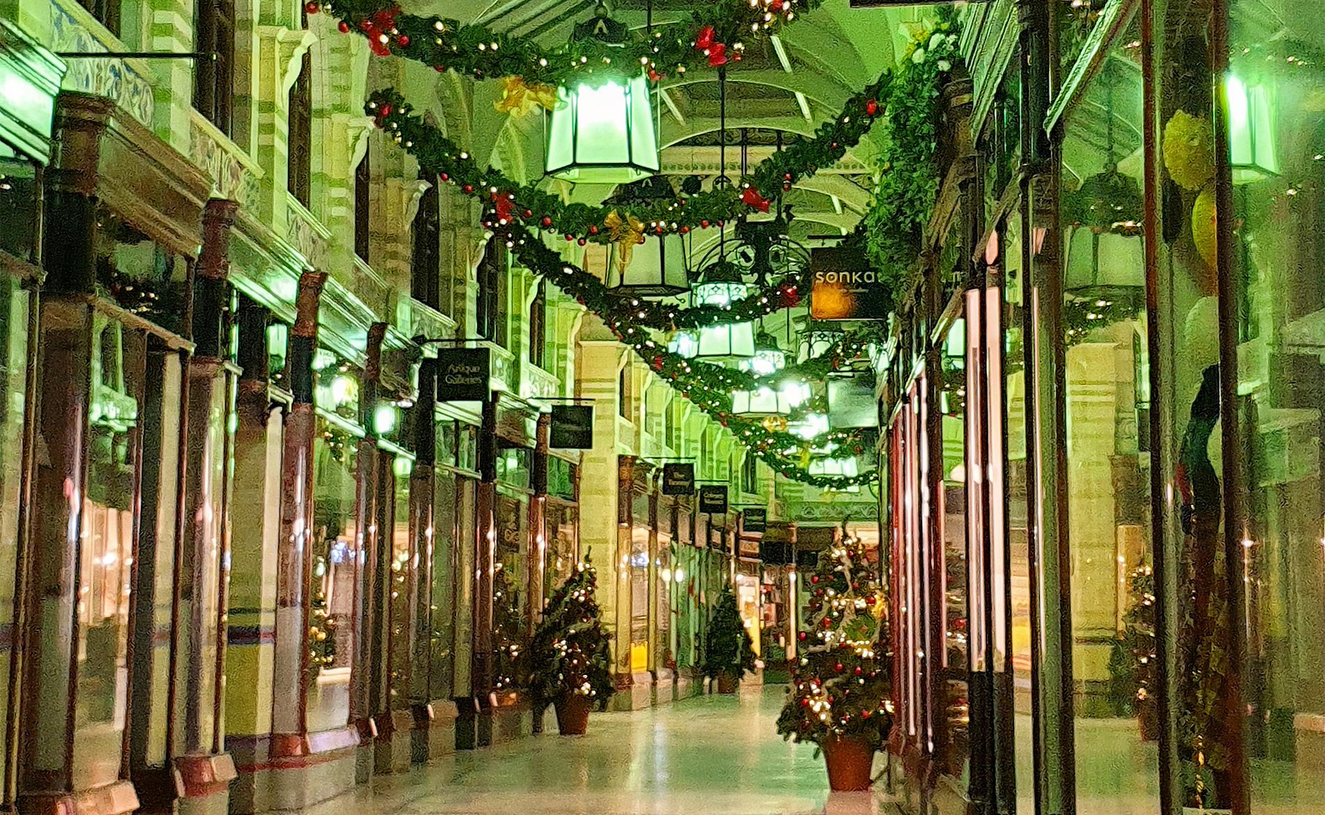 Royal Arcade Norwich, at Christmas.