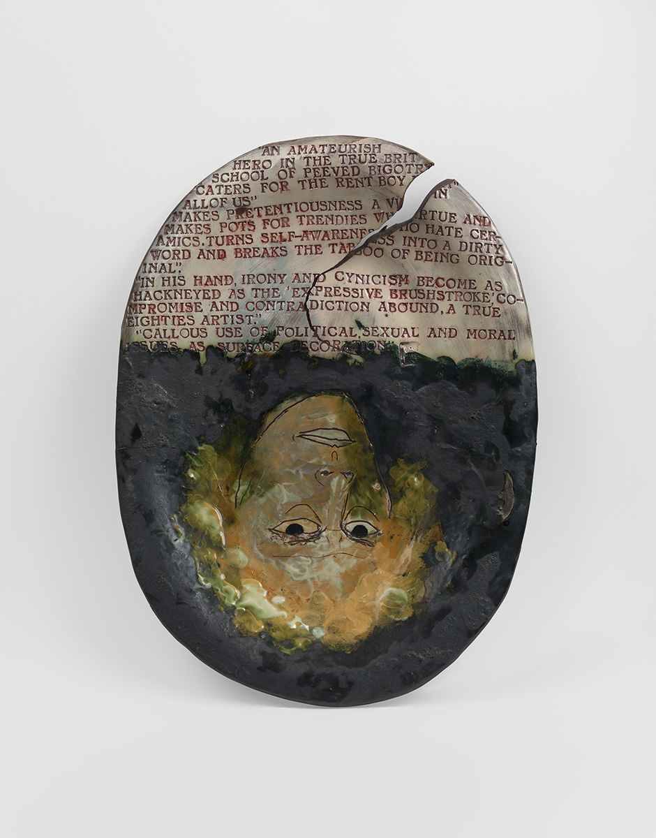 Self portrait cracked and warped by Grayson Perry c. 1985 Glazed ceramic Private Collection.