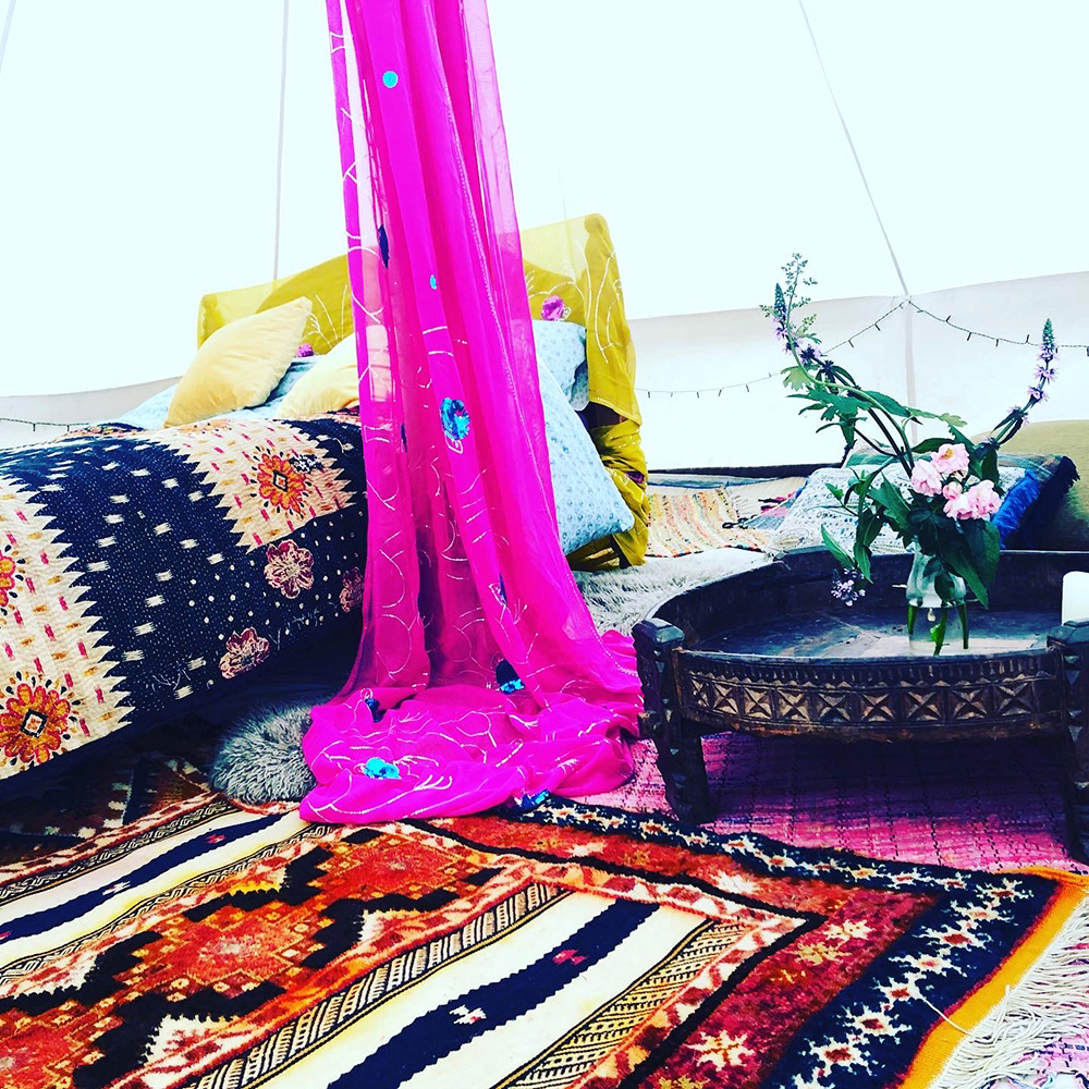Bell tent at Wildflower Glamping Salhouse Broad Norfolk.